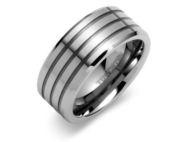 Beveled Edge Triple Grooved 9mm Comfort Fit Mens Tungsten Carbide Wedding Band Ring Size 12