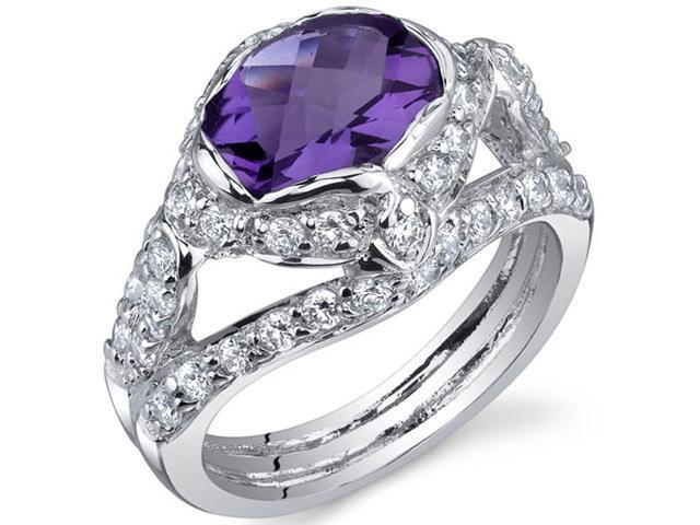 Statuesque 1.50 Carats Amethyst Ring in Sterling Silver Size 5