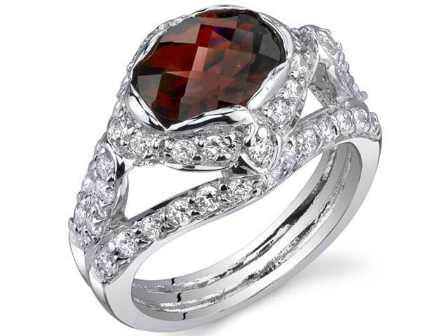Statuesque 2.25 Carats Garnet Ring in Sterling Silver Size 5