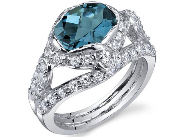 Statuesque 2.00 Carats London Blue Topaz Ring in Sterling Silver Size 6