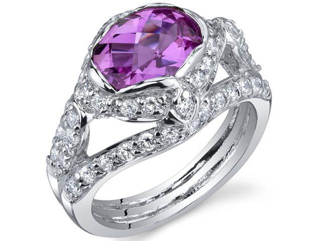 Statuesque 2.50 Carats Pink Sapphire Ring in Sterling Silver Size 8