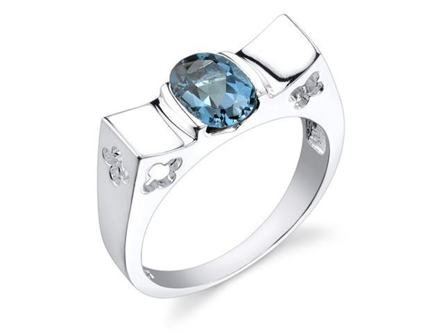 Sterling Silver 1.50 cts Oval Shape London Blue Topaz Ring Size 8