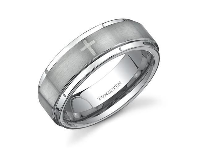 Flat Edge Brush Finish with Cross Laser Pattern 7 mm Comfort Fit Mens Tungsten Wedding Band Ring Size 12.5