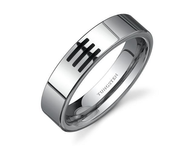 High Polished 6 mm Black resin inlay Comfort Fit Mens Tungsten Wedding Band Ring Size 12