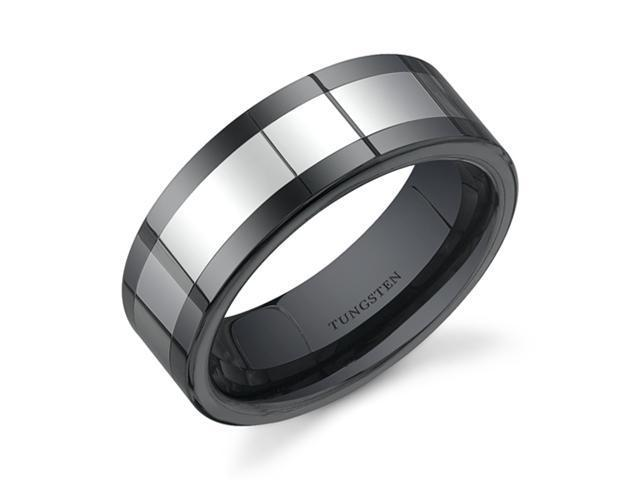 Flat Edge 8 mm Comfort Fit Mens Black Ceramic and Tungsten Combination Wedding Band Ring Size 10.5