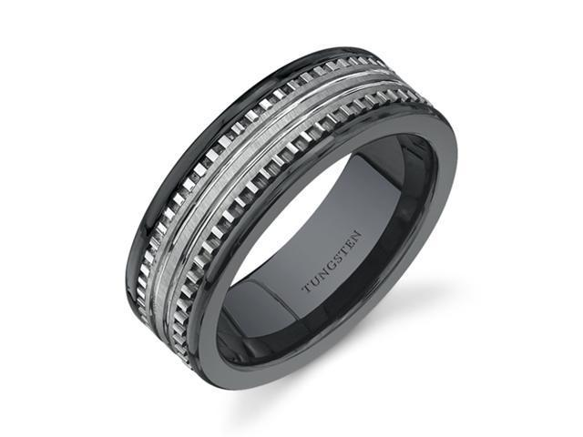 Rounded Edge 7 mm Comfort Fit Mens Black Ceramic and Tungsten Combination Wedding Band Ring Size 8.5