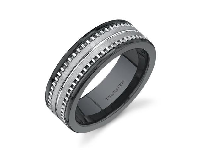 Flat Edge 7 mm Comfort Fit Mens Black Ceramic and Tungsten Combination Wedding Band Ring Size 9.5