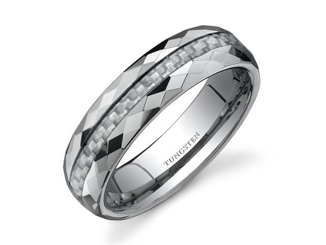 Faceted Edge White Carbon Fiber 6mm Comfort Fit Mens Tungsten Wedding Band Ring Size13