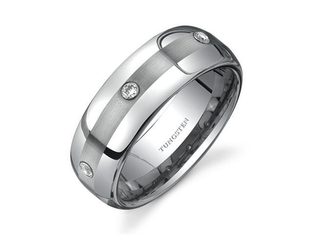 Rounded Edge Three Stone design CZ Diamond 8 mm Comfort Fit Mens Tungsten Wedding Band Ring Size 13
