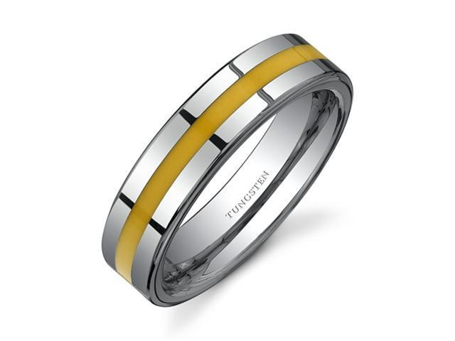 Flat Edge Yellow Resin Inlay 6 mm Comfort Fit Mens Tungsten Wedding Band Ring Size 13