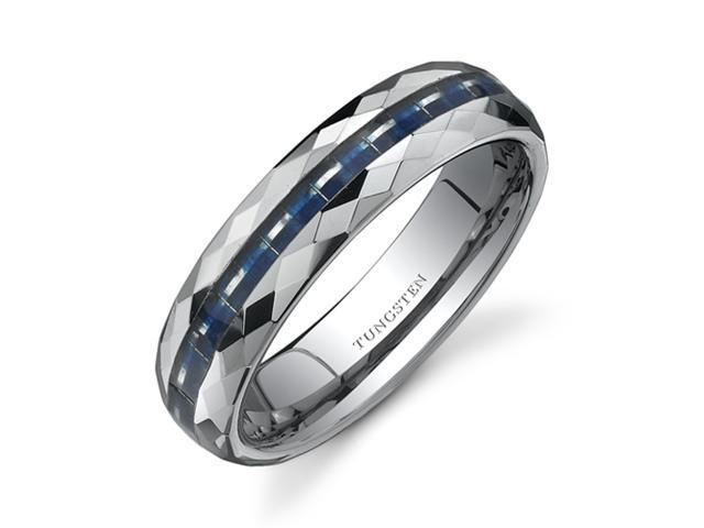 Faceted Edge Blue Carbon Fiber 6mm Comfort Fit Mens Tungsten Wedding Band Ring Size 13
