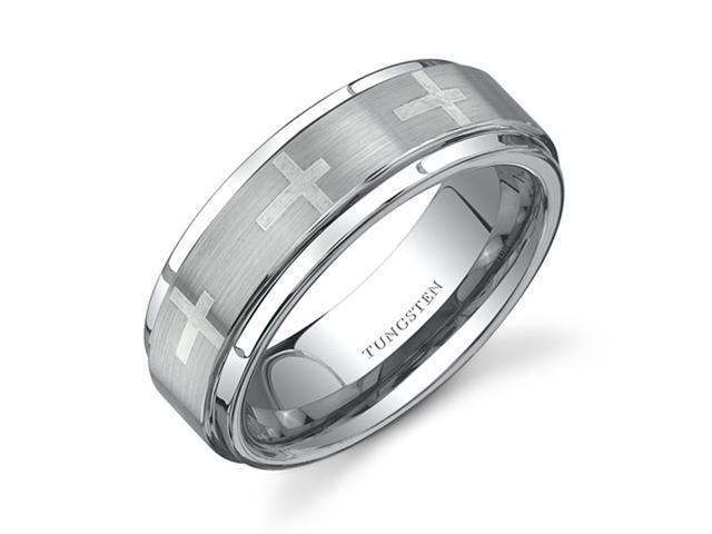Flat Edge Brush Finish with Cross Laser Pattern 7 mm Comfort Fit Mens Tungsten Wedding Band Ring Size 10.5
