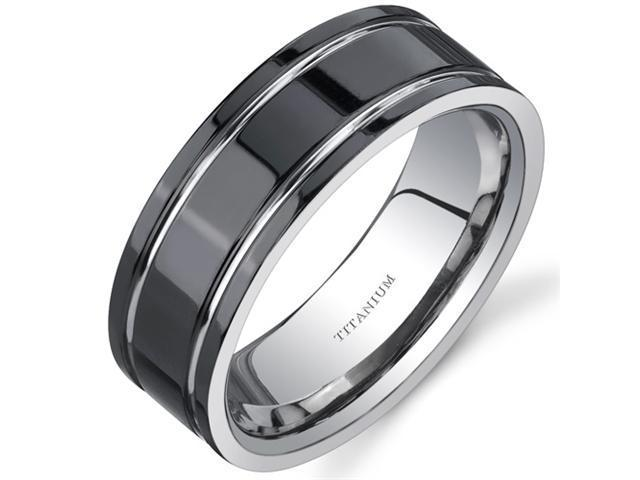 Comfort fit Mens Black Titanium 8 mm Wedding Band Available Size 8
