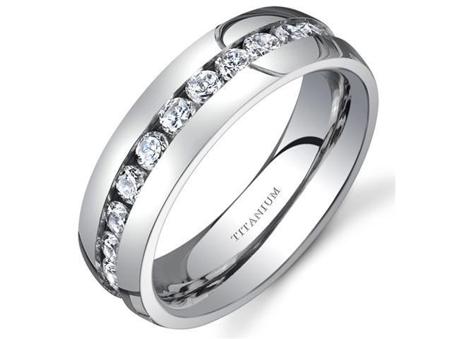 Titanium Womens 6 mm Eternity Band with Cubic Zirconia Available Size 5