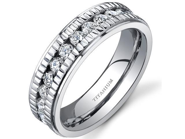 Notched Design Womens 6 mm Titanium Eternity Band Available Size 8