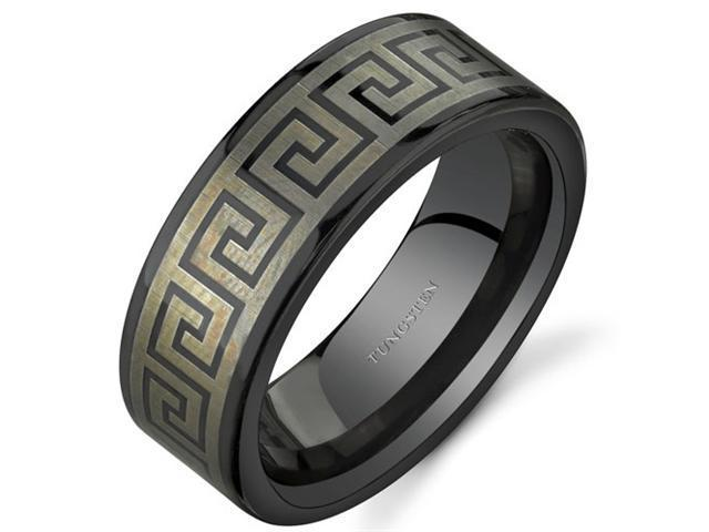 Greek Key Motif 8 mm Comfort Fit Mens Black Tungsten Wedding Band Ring Size 10.5