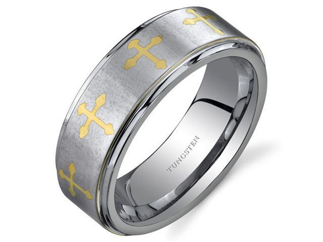 Cross Motif 8 mm Comfort Fit Mens Silver Tone Tungsten Wedding Band Ring Size 10.5