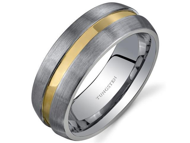 Rounded Edge 8 mm Comfort Fit Mens Rose Gold Tone Tungsten Wedding Band Ring Size 8.5