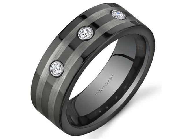 3 Stone 8 mm Comfort Fit Mens Black and Silver Tone Tungsten Wedding Band Ring Size 11.5