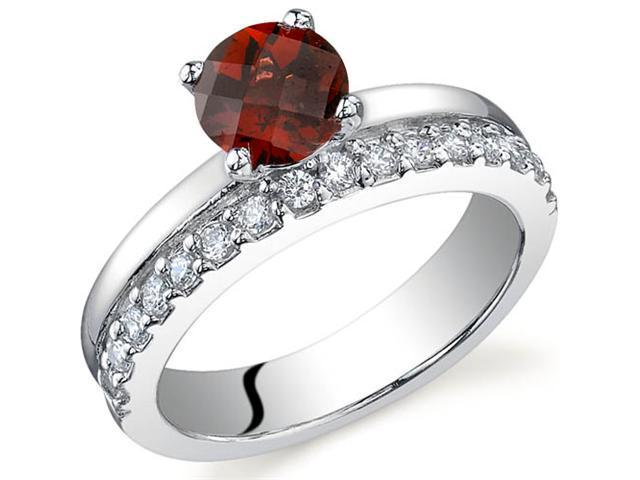 Sleek and Sparkling 1.00 carats Garnet Ring in Sterling Silver Size 7