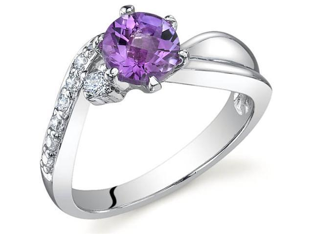 Ethereal Curves 0.75 carats Amethyst Ring in Sterling Silver Size 7
