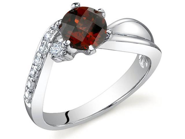 Ethereal Curves 1.00 carats Garnet Ring in Sterling Silver Size 6