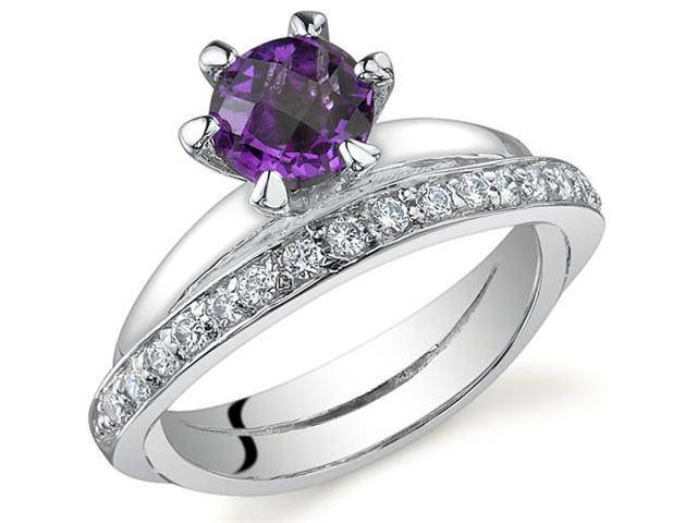 Classy Oblique Double-Band 0.75 carats Amethyst Ring in Sterling Silver Size 8