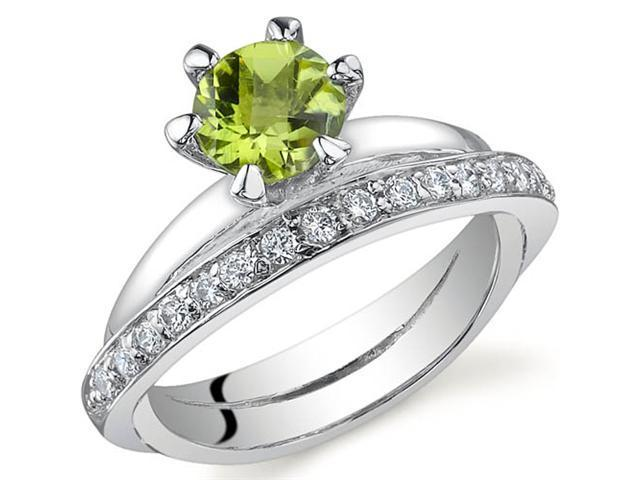 Classy Oblique Double-Band 0.75 carats Peridot Ring in Sterling Silver Size 7