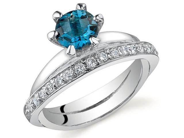 Classy Oblique Double-Band 1.00 carats London Blue Topaz Ring in Sterling Silver Size 7