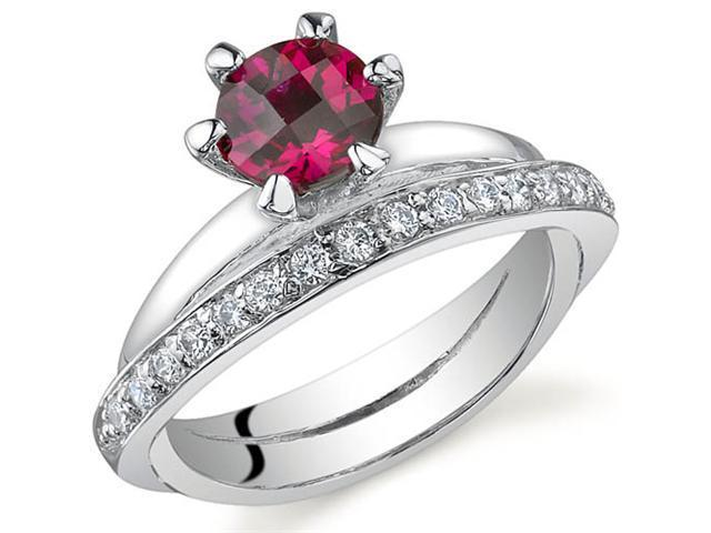 Classy Oblique Double-Band 1.00 carats Ruby Ring in Sterling Silver Size 8