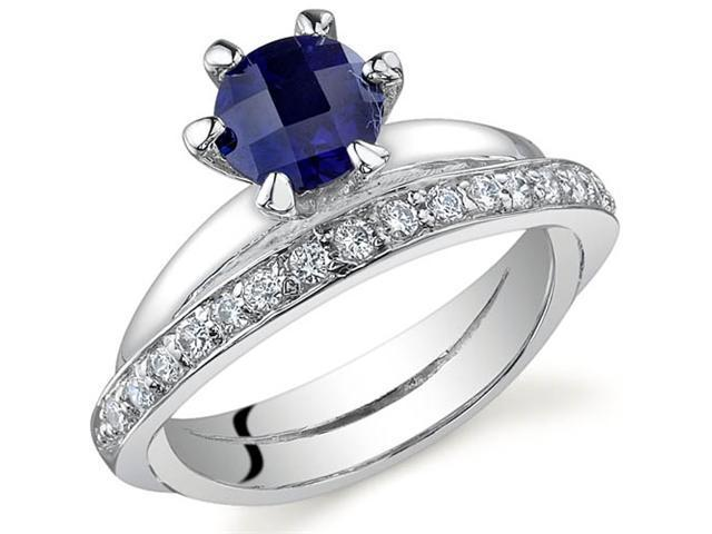 Classy Oblique Double-Band 1.25 carats Sapphire Ring in Sterling Silver Size 6