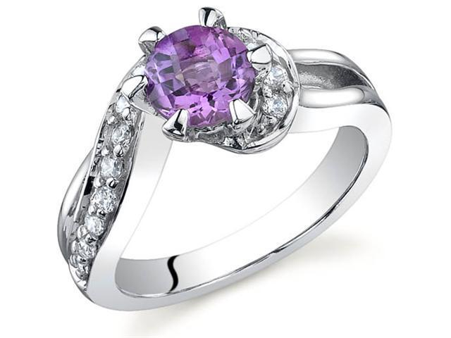 Majestic Wave 0.75 carats Amethyst Ring in Sterling Silver Size 5