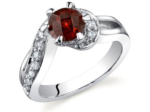 Majestic Wave 1.00 carats Garnet Ring in Sterling Silver Size 9