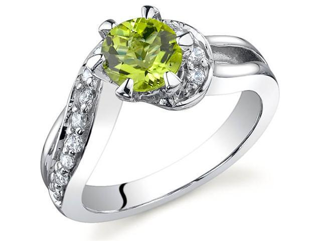 Majestic Wave 0.75 carats Peridot Ring in Sterling Silver Size 9