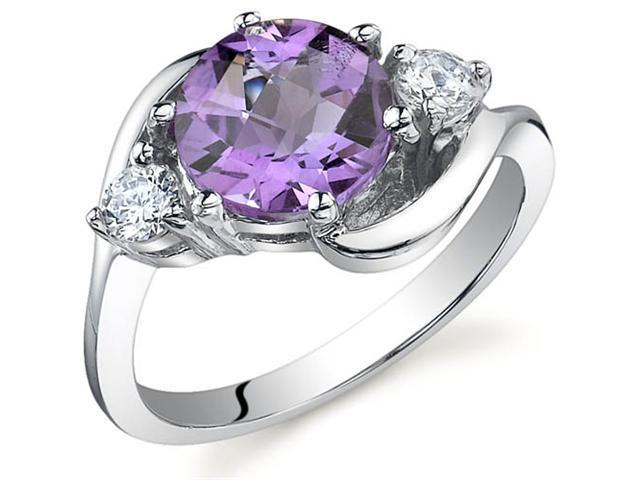 3 Stone Design 1.75 carats Amethyst Ring in Sterling Silver Size 8