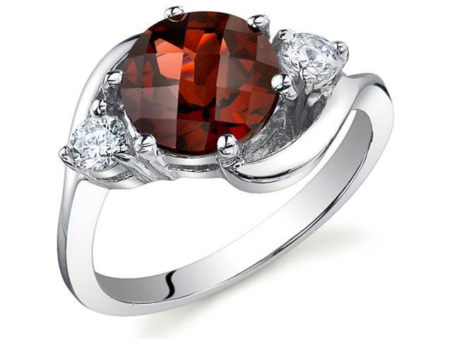 3 Stone Design 2.25 carats Garnet Ring in Sterling Silver Size 7