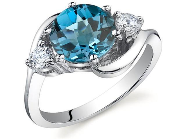 3 Stone Design 2.25 carats London Blue Topaz Ring in Sterling Silver Size 6