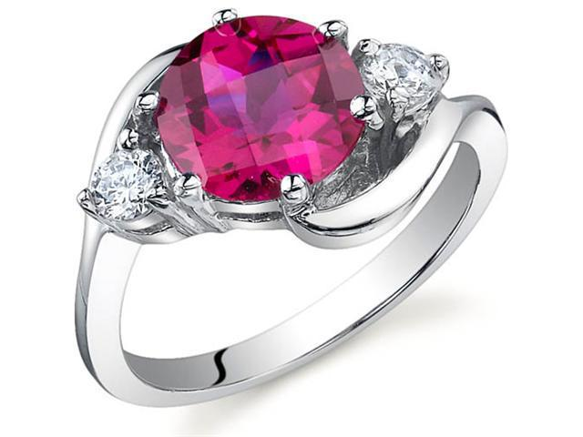 3 Stone Design 2.25 carats Ruby Ring in Sterling Silver Size 5
