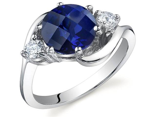 3 Stone Design 2.75 carats Sapphire Ring in Sterling Silver Size 8
