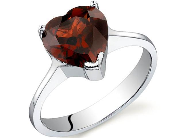 Cupids Heart 2.25 carats Garnet Ring in Sterling Silver Size 9