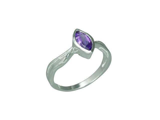 1.00 Carat Marquise Cut Genuine Amethyst Sterling Silver Ring