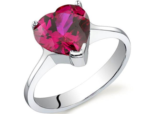 Cupids Heart 1.75 carats Ruby Ring in Sterling Silver Size 8