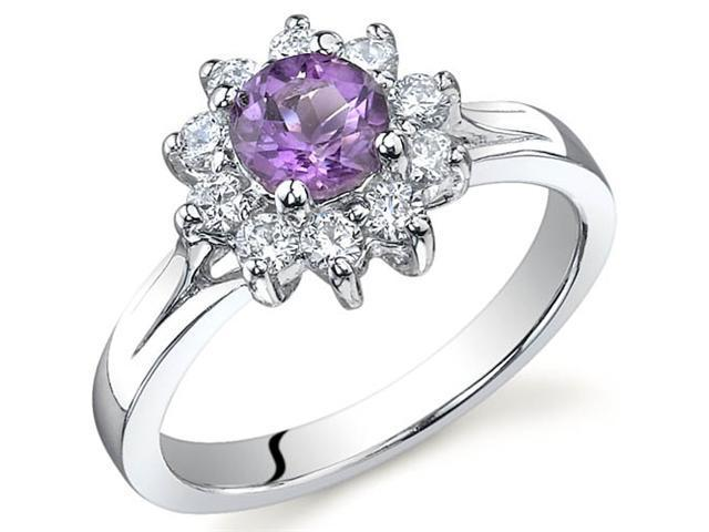 Ornate Floral 0.50 carats Amethyst Ring in Sterling Silver Size 7