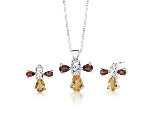 4.00 cts Pear Shape Citrine Garnet Pendant Earrings in Sterling Silver Free 18 inch Necklace