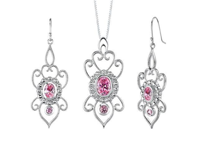 Oval & Round Shape Pink Cubic Zirconia Pendant Earrings Set in Sterling Silver