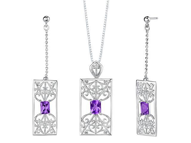 2.75 carats Radiant Cut Amethyst Pendant Earrings Set in Sterling Silver