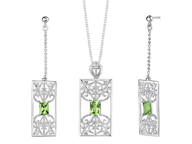 3.50 carats Radiant Cut Peridot Pendant Earrings Set in Sterling Silver