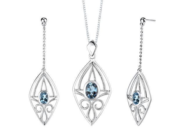 4.25 carats Oval Shape London Blue Topaz Pendant Earrings Set in Sterling Silver