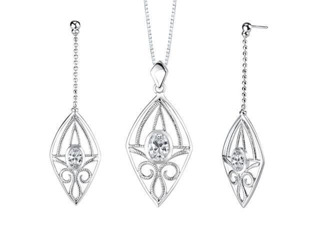 Oval Shape White Cubic Zirconia Pendant Earrings Set in Sterling Silver