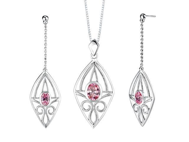 Oval Shape Pink Cubic Zirconia Pendant Earrings Set in Sterling Silver